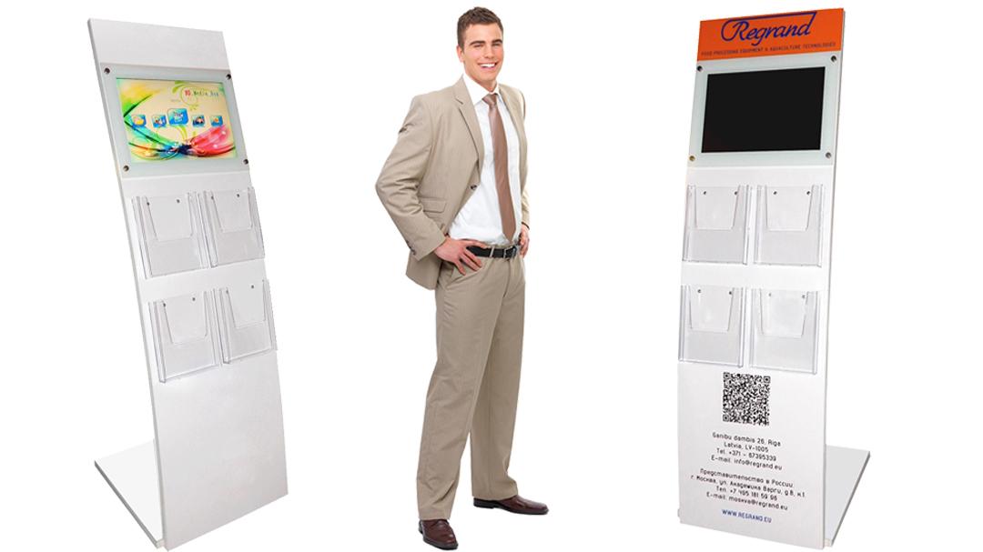 Рекламная буклетница V-smart с рекламным монитором для выставки, презентации и шоурума